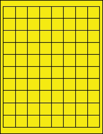 3925Y Fluorescent Yellow 1 inch square ProfessionalLabel.com