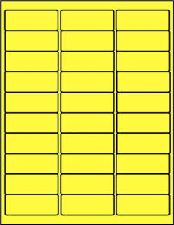Canary Yellow dayglo fluorescent labels 30 up C2610