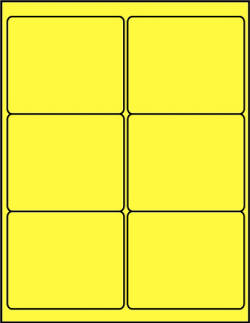 Yellow canary dayglo fluorescent 4 x 3.33 labels C4033