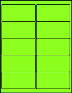Green dayglo fluorescent 4 x 2 labels GR4020