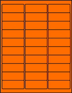 Orange dayglo fluorescent labels 30 up OR2610