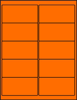 Orange dayglo fluorescent 4 x 2 labels OR4020