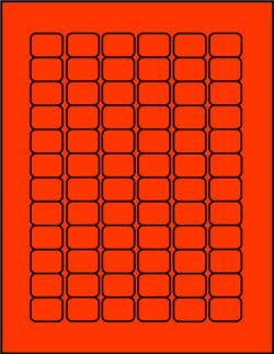 Red Fluorescent dayglo label sheets 72 up