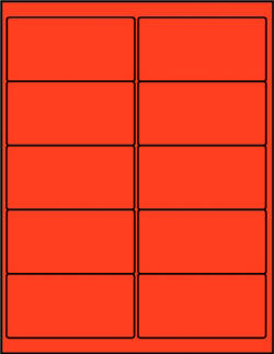 Red dayglo fluorescent 4 x 2 labels R4020