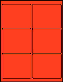 Red fluorescent dayglo 4 x 3.33 labels R4033